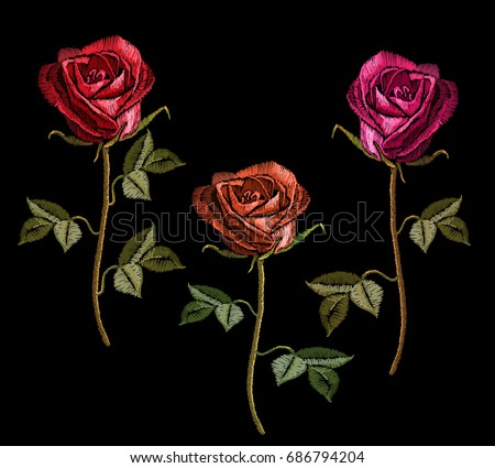 embroidery red roses on black