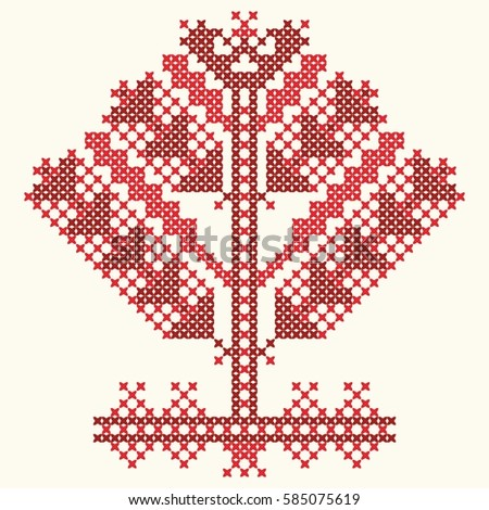 embroidery red thread tree of