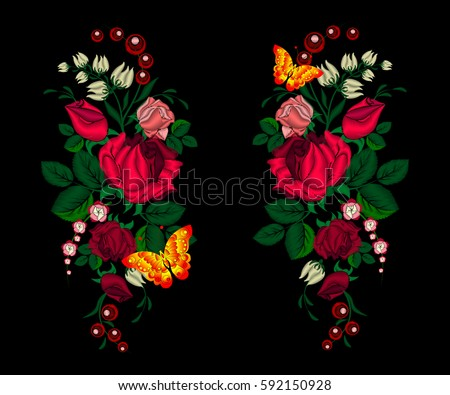 embroidery roses and butterfly