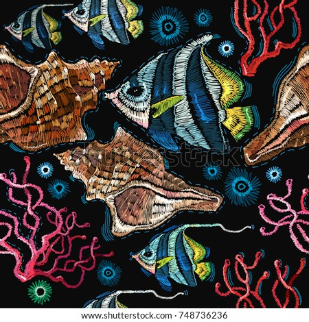 embroidery sea life  sea shells