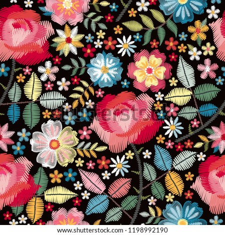 Embroidery seamless pattern with beautiful colorful flowers. Floral print with spanish motives. Manton shawl. Fashion design. Vector embroidered illustration.