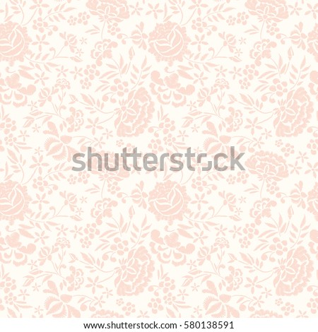 Embroidery seamless pattern with beautiful flowers. Vector floral ornament on ivory background. Embroidery for fashion textile and fabric.