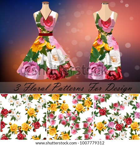 embroidery seamless rose patterns with dress template. Romantic textile set. Summer dress or night dress design