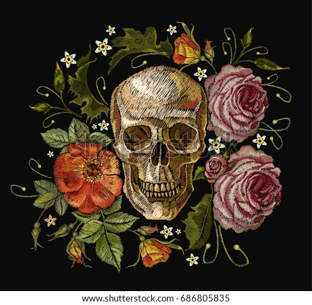 embroidery skull and red roses