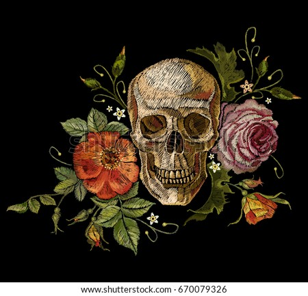 embroidery skull and roses dia