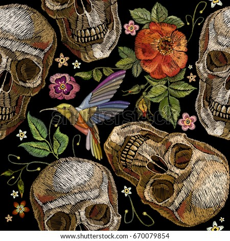 embroidery skull and roses
