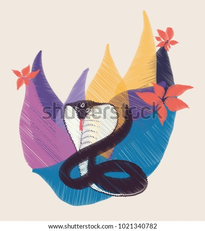 embroidery snake vector