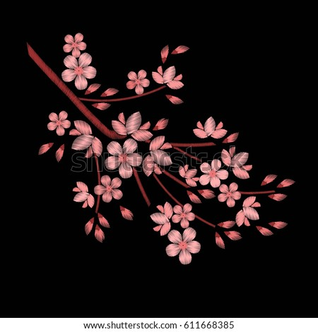 Embroidery stitches with cherry blossoms, spring flowers branches in pastel color. Fashion vector ornament on black background for textile traditional folk floral decoration for clothing. Sakura.