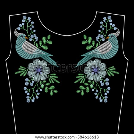 Embroidery stitches with dove bird, blue wild flowers for neckline. Vector fashion ornament on black background for textile, fabric traditional folk decoration.