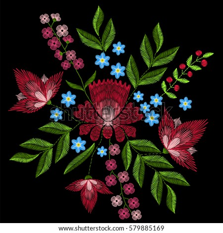 Embroidery stitches with pink flowers. Vector fashion ornament on black background for textile, fabric traditional folk floral decoration.
