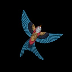 Embroidery stitches with swallow bird. Vector fashion ornament for textile, fabric traditional folk  decoration