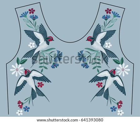 Embroidery stitches with swallow birds, wild flowers for neckline. Fashion embroidered ornament for textile, fabric traditional folk decoration. Vector illustration.