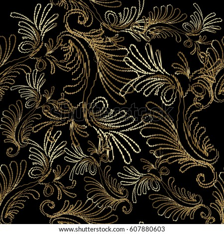 embroidery style floral damask
