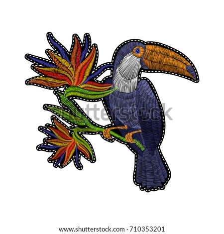 Embroidery toucan with tropical flowers for fashion clothing, patches and stickers. Exotic bird and hawaii leaves for decor, fabric design elements.
