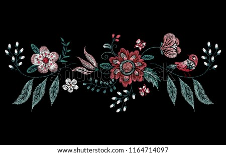 Embroidery traditional floral pattern with bird and flowers. Vector embroidered bouquet with flowers for wearing design.