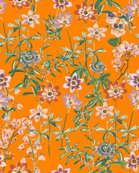 Embroidery Vector Flowers and Leaves Scribble Style Fashion Print Stylish Texture Elegant Concept Colorful Garden Look Wild Florals Bright Orange Background