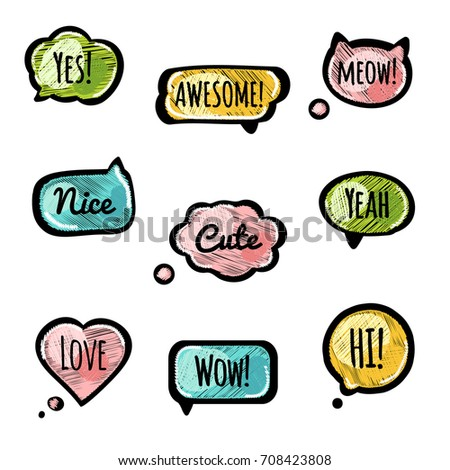 Embroidery vector speech bubble set. Nice, Yes, Love, Awesome, Meow, Hi, Wow, Cute, Yeah phrases in doodle style. Short dialog messages for print, web, graphic design.