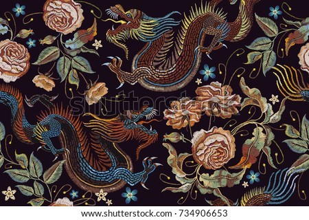 Embroidery vintage chinese dragons and flowers peonies seamless pattern. Classical embroidery asian dragons and beautiful peonies seamless pattern. Art dragons t-shirt design. Clothes, textile art
