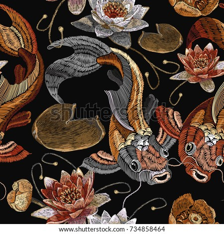 embroidery vintage koi fish and