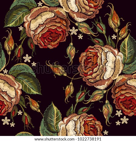 Embroidery vintage roses seamless pattern. Template for clothes, textiles, t-shirt design. Beautiful bud red roses classical embroidery on black background