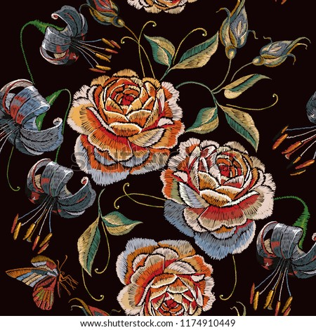 embroidery vintage roses tiger