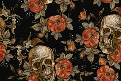 Embroidery vintage skull and roses seamless pattern. Gothic romanntic embroidery human skulls red roses and pink peonies pattern, clothes template and t-shirt design. Dia de muertos, day of the dead