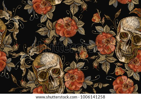 embroidery vintage skull and