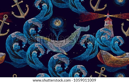 Embroidery whales and anchor, lighthouse, sea wave and boat seamless pattern. Template for clothes, t-shirt design. Art embroidery, big waves ocean, lighthouse and whales seamless pattern