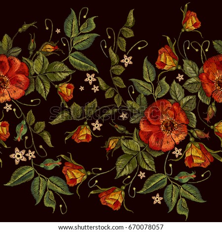 embroidery wild red roses