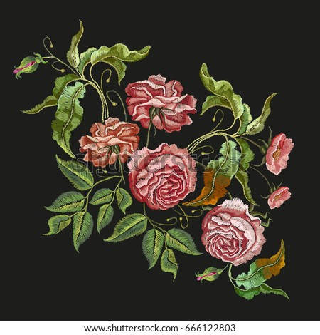 Embroidery wild rose. Classical embroidery blossoming rose buds on black background, template fashionable clothes, t-shirt design, beautiful flowers pattern vector