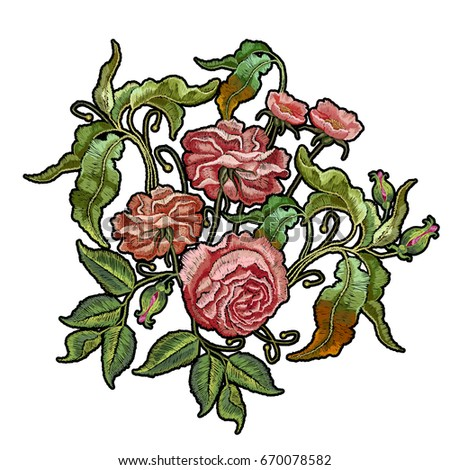 embroidery wild rose isolated