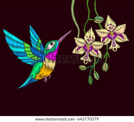 embroidery with hummingbird and