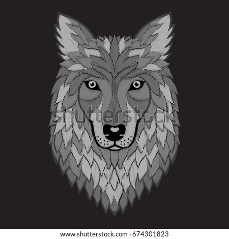 embroidery wolf grayscale head