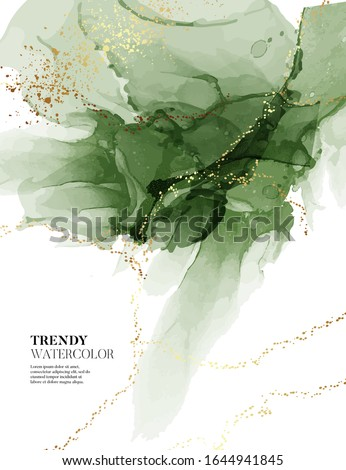 Emerald abstract watercolor liquid. Modern marble abstract poster in green color, luxury presentation vector. Paint business cover.