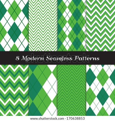 Emerald and Green Argyle and Chevron Seamless Patterns. St. Patrick's Day or Golf theme backgrounds. Pattern Swatches included and made with Global Colors.