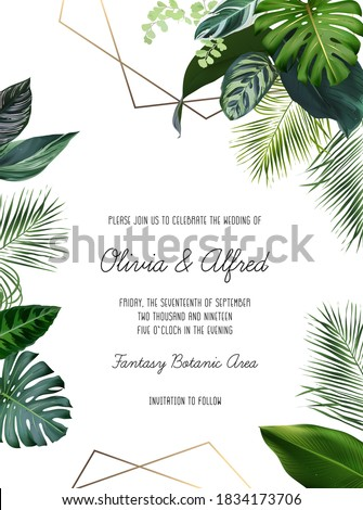 Emerald green monstera, calathea, palm tropical leaves template geometric card. Emerald exotic greenery frame. Island wedding invitation. Tourism and vacation banner.Elements are isolated and editable