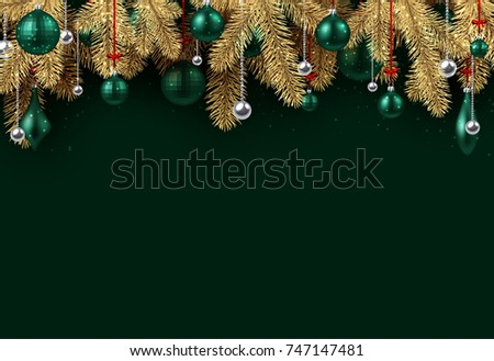 Emerald New Year background with spruce branches and Christmas balls. Vector illustration.