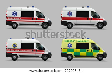 Emergency ambulance set. Special medical vehicles. Design of different countries of the world. Inscriptions in English and Ukrainian languages