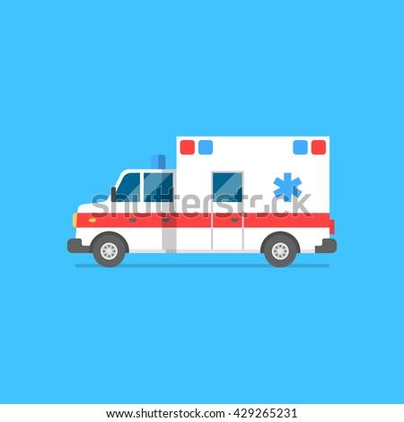 Emergency ambulance vector illustration. Medical vehicle. Ambulance car in flat style