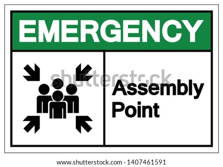 Emergency Assembly Point Symbol Sign, Vector Illustration, Isolated On White Background Label .EPS10