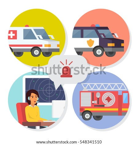 Emergency call center online support. Phone operator for ambulance, fire department or police help. Flat design vector illustration.