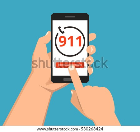 Emergency call 911 concept. Hand holding mobile phone with emergency number 911 on the screen. Flat vector illustration.