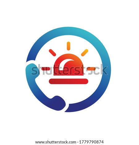 emergency call, emergency light icon vector template logo Stock foto ©