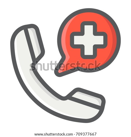 Emergency call filled outline icon, medicine and healthcare, medical support sign vector graphics, a colorful line pattern on a white background, eps 10.