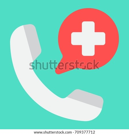 Emergency call flat icon, medicine and healthcare, medical support sign vector graphics, a colorful solid pattern on a cyan background, eps 10.