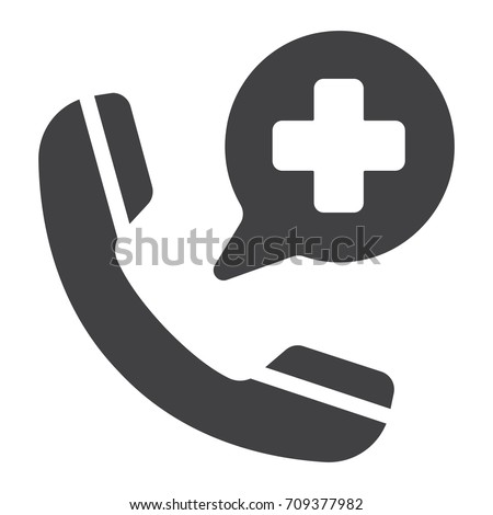 Emergency call glyph icon, medicine and healthcare, medical support sign vector graphics, a solid pattern on a white background, eps 10.
