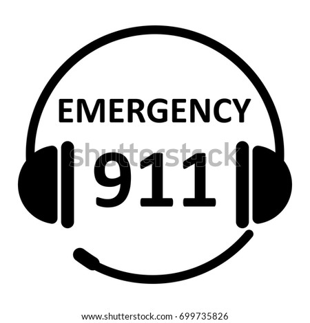 Emergency call icon with 911. Headphone image with text isolated on white background. EPS10 vector illustration for hospital call center service, template, medical hotline, business banner, symbol.