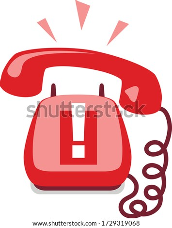 Emergency call. Urgent call. Old fashion home phone. Hang up phone. Answer a call. Ring off. Stay on the line. Handset on the wire. Technical support. Warning notification. Hotline. Standby phone. Photo stock ©
