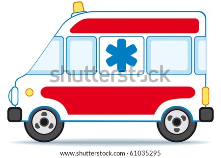 Emergency car icon on white background