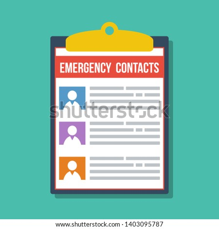 emergency contacts list in clipboard, vector flat illustration